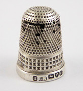 Antique 1904 Hallmarked Sterling Silver Sewing Thimble 8 Silversmith Charles Horner Dents DAMAGE