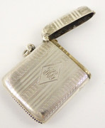 Antique Art Deco 1925 Sterling Silver Vesta Monogrammed JHL?