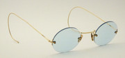 Early Antique Late 1800s Gold Plated Glasses  Tinted Blue Glass
