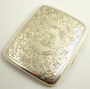 Antique Monogrammed LJ Deco 1910 Sterling Silver Cigarette Case by W J Myatt & Co Ltd