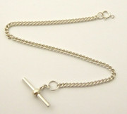 Antique Small Fine Silver Pocket Watch Chain T Bar