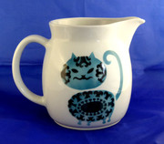 Large  Arabia Finland Blue Smiling Cat Milk Jug Pitcher by Kaj Franck