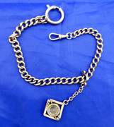 Antique Thick White Metal Watch Chain with Compass Fob