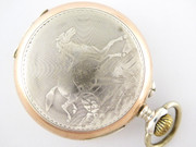 Beautiful Art Nouveau Antique 1900s German .800 Silver and Gold Pocket Watch with Engraved Horses