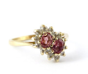 9ct Gold Ring with Twin Pink Garnet Setting with Paste Surround Size N