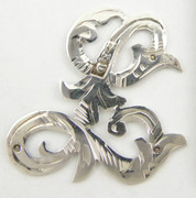 1900s - 1920s Antique Solid Silver Letters 'L' 20mm with Silversmith's stamp Other Letters Available