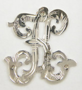 1900s - 1920s Antique Solid Silver Letters 'K' 20mm with Silversmith's stamp Other Letters Available