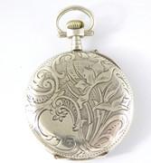 Antique Art Nouveau 1900s Pocket Watch Fancy Floral Back  Enamel Dial