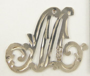 1900s - 1920s Antique Solid Silver Letter 'M' 22mm with Silversmith's stamp Other Letters Available