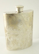 Antique Solid Sterling Silver Hip Flask