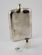 Antique Art Deco Solid Sterling Silver Hip Flask with Thimble Shot Cap