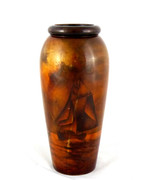Large Antique  Australian Tasmanian Huon Pine Vase with Ships Poker Work Style