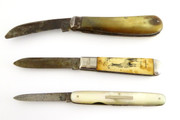 Collection of Three Antique & Vintage Sheffield Steel Pocket Knives $90au