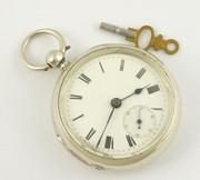 Hallmarked Antique Sterling Silver Pocket Watch Mechanical Key Movement