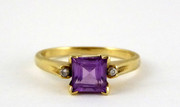 Beautiful 9ct Gold Ring Set with Amethyst & Diamonds Size P $200au
