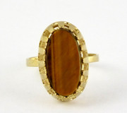 .333 German 8ct Gold Ring Set Tigers Eye Size P $160au