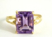 10ct Gold Ring Set with Large Square Amethyst & Diamonds Size O