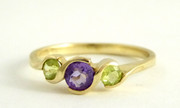 9ct Gold Ring Set with Amethyst and Citrine Gems  Size N