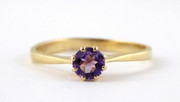 9ct Gold Ring Set with Solitary Amethyst Gem Size P