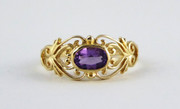 9ct Gold Ring Set with Solitary Amethyst Gem Size M 1/2