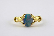 Hallmarked 18ct Gold Ring Set with Opal Size K 1/2