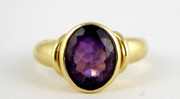 9ct Gold Ring Set with Large Solitary Amethyst Gem Size M