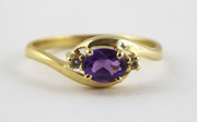 9ct Gold  Ring Set with Amethyst & Diamonds Size N