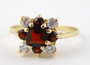 9ct Gold  Ring Set with Garnets Size N