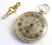 Antique Late 1800s Swiss  WOOG Geneve Pocket Watch Fancy Silver Dial Temperamental