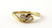 Hallmarked 1962 Vintage 9ct Gold Ring with Twin Diamond Stone Setting