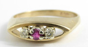 Vintage 9ct Gold Hallmarked 1981 Ring Set with Diamonds and Central Ruby Size P