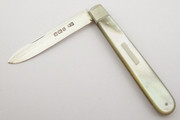 Antique 1900 Hallmarked Sterling Silver Pocket Fruit Knife with a Pearl Handle by Thomas Marple