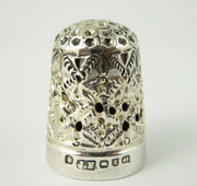 Antique 1899 Hallmarked Sterling Silver Sewing Thimble Silversmith James Fenton