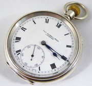 Hallmarked 1918 Antique Sterling Silver  Pocket Watch Signed Russells Liverpool (Needs Work)