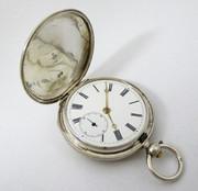 1880 Antique Full Hunter Silver Pocket Watch Stewart Dawson & Co Liverpool