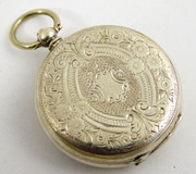 Late 1800s Antique  .800 AGS Swiss Silver Pocket Fob Watch
