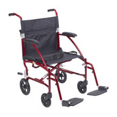 Transport Wheelchair Ultra Lightweigh, Burgundy - dfl19-rd