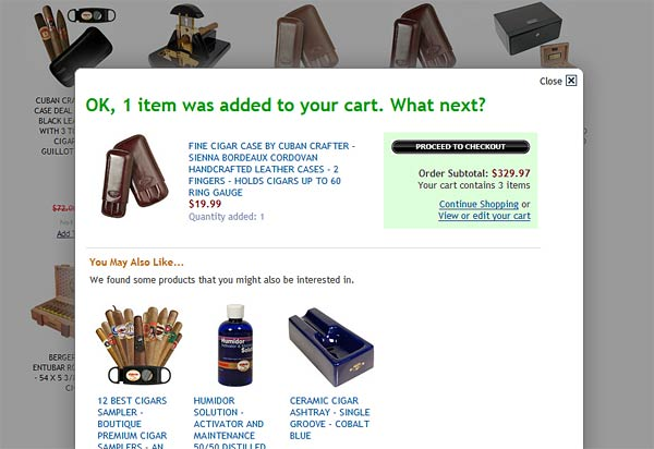 Add Cigar to Cart Screen