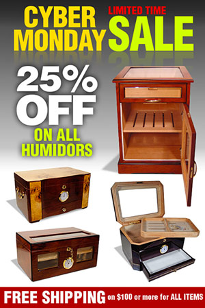 Cyber Monday Cigar Humidors 25% Off