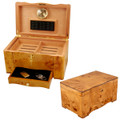 CUSTOM HUMIDORS - CUBAN CRAFTERS HAVANA HUMIDOR - 120 CIGAR CAPACITY - EXOTIC HIGH PIANO GLOSS BIRDSEYE MAPLE BURL EXTERIOR, VIRGIN SPANISH CEDAR INTERIOR.