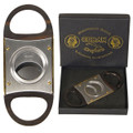 GOLD CIGAR CUTTERS - DELUXE CUBAN CRAFTERS WOOD HANDLED CUTTER - STAINLESS STEEL SELF SHARPENING DOUBLE BLADES WITH LUXURY MAHOGANY WOOD HANDLES