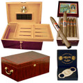 TREASURE CHEST HUMIDORS WITH CIGARS COMBO INCLUDES THE PERFECTO HUMIDOR, 25 LA CAROLINA CAMPANA CIGAR, CC-07 DOUBLE BLADE CUTTER ($373.98 Value). DISCOUNT COMBOS DEAL