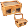 HUMIDOR GIFTS - PALACIO BIRDSEYE MAPLE BURL - CEDAR INTERIOR - BEVELED GLASS TOP CIGAR HUMIDORS WITH FRONT WINDOWS - PIANO HIGH GLOSS SHINE - 120 CIGARS CAPACITY