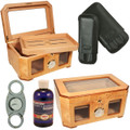 DELUXE COMBO - CIGAR HUMIDORS AND ACCESSORIES SHOP SALE - PALACIO HUMIDOR - SIENNA BLACK LEATHER 3 FINGER CIGAR CASE - TITANIUM CIGAR CUTTER - HUMIDOR SOLUTION - (Over $497 Retail Value)