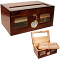 GLASS TOP CIGAR HUMIDOR - CUBAN CRAFTERS BRAVO DOS HUMIDORS - TEMPERED BEVELED GLASS TOP AND WINDOWS - RICH ROSEWOOD WITH EBONY TRIM - HIGH GLOSS PIANO SHINE - SPANISH CEDAR INTERIOR - 120 CIGARS CAPACITY