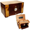 BEST HUMIDOR PRICES - ELEGANCE PIANO SHINE ROSEWOOD, BIRDSEYE MAPLE BURL TOP AND INLAY, SPANISH CEDAR, 120 CIGAR CAPACITY