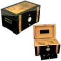 CUBAN EXOTICA CIGAR HUMIDOR - QUALITY HUMIDORS - PIANO SHINE EBONY, BIRDSEYE MAPLE BURL, SPANISH CEDAR, HOLDS 150 CIGARS