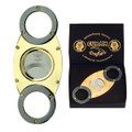 Cuban Crafters Gold and Titanium Enamel Cigar Cutter  Handles and Cuts all size Cigars up to 54 ring gauge Self Sharpening Double Blades