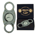 Titanium enamel Cigar Cutter compare to Davidoff, Colibri Cutters Cuban Crafters self sharpening Stainless Steel Double blades O round Design