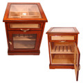 CABINET HUMIDORS - CHERRY AFRICAN BUBINGA WOOD EXTERIOR - SPANISH CEDAR INTERIOR END TABLE HUMIDOR - POLISHED BEVELED GLASS - FREE SHIPPING